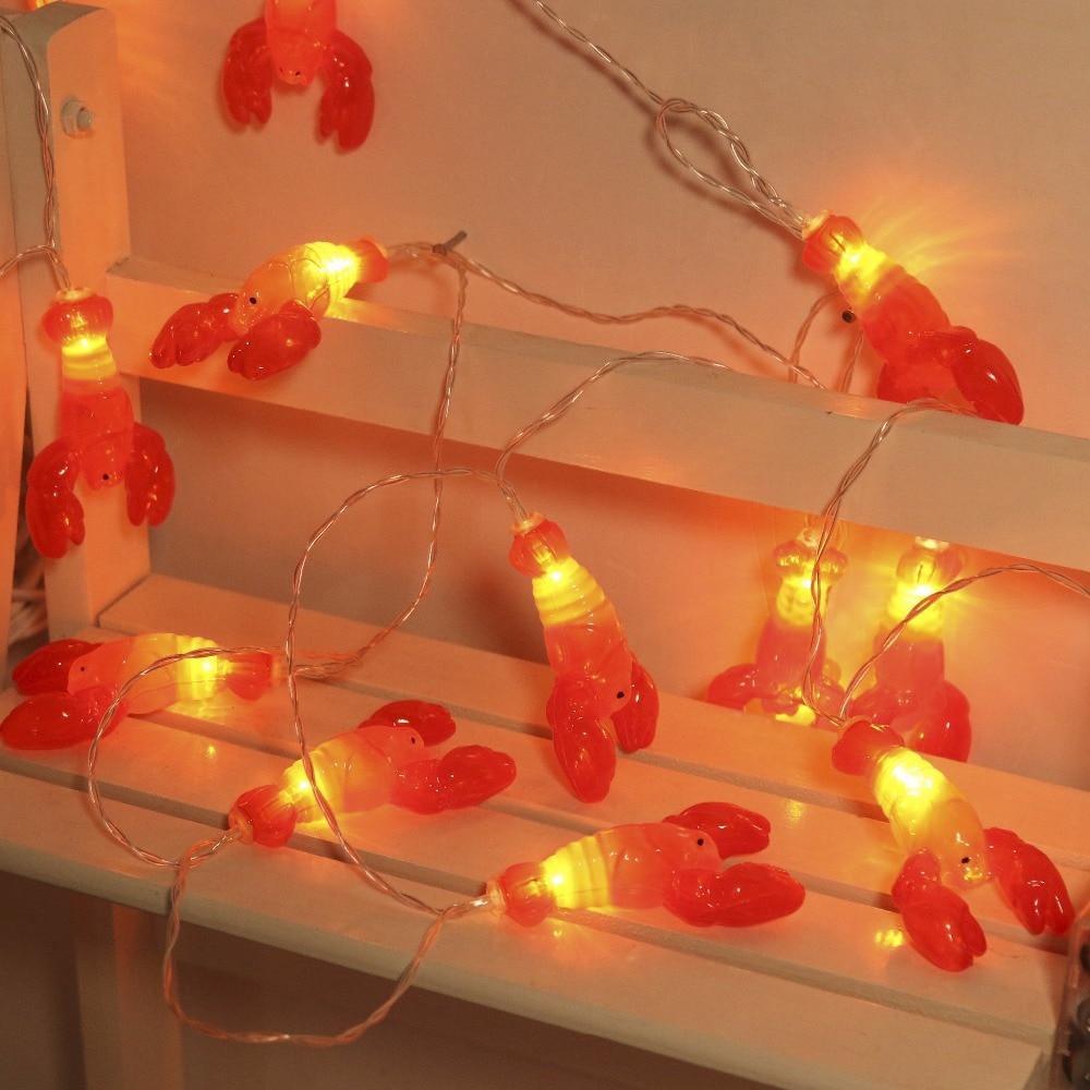 JUNJUE LED Holiday Lights Crayfish Stars Christmas Lights Sparking Led String Halloween Decoration Fairy Lamp