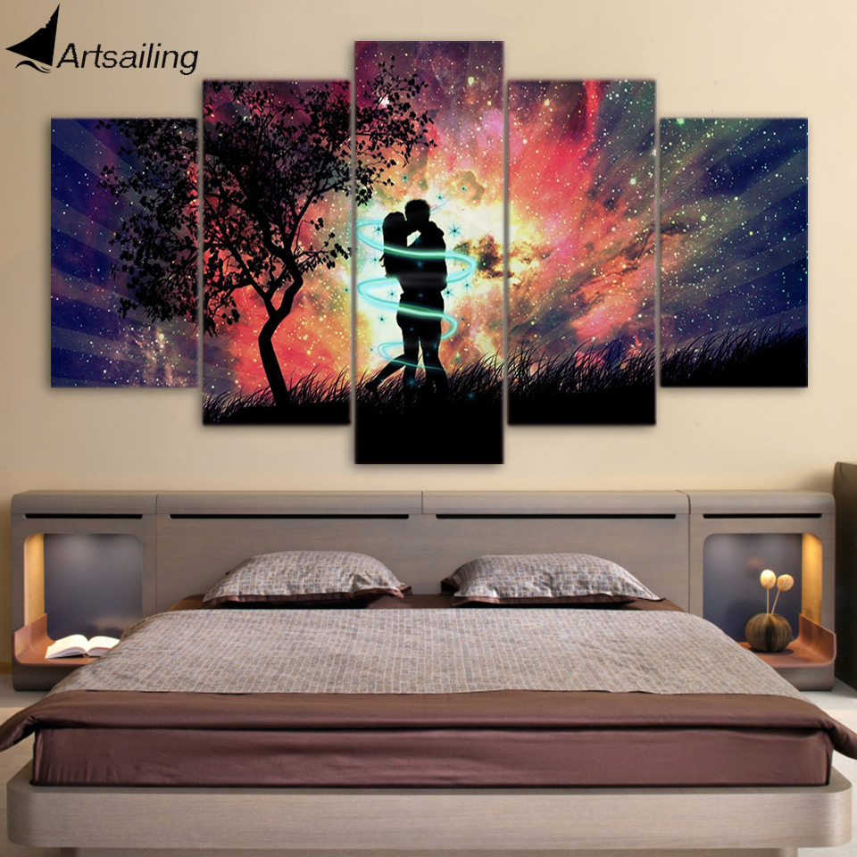 Day of the Dead Kiss Couple 5 Pieces Canvas Wall Art Poster Print Home Decor
