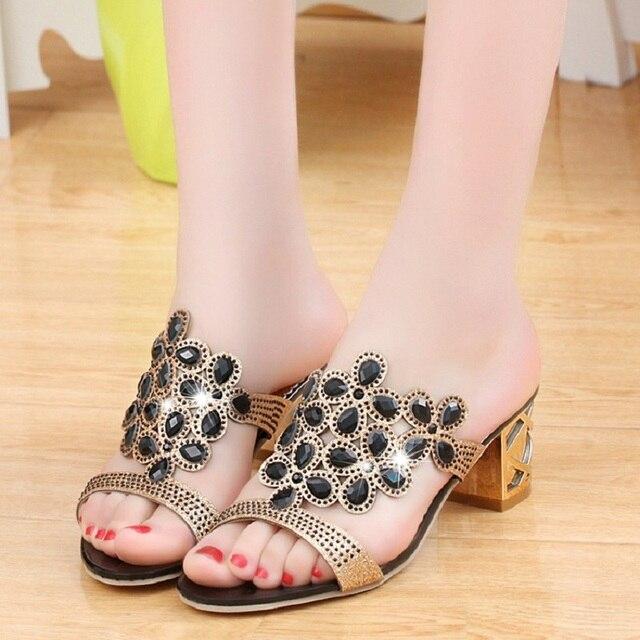 Designer Sandals Women 2018 Ladies Slides Women Slippers Sandals Summer Crystal Shoes Peep Toe Middle Heels Zapatos Mujer 1