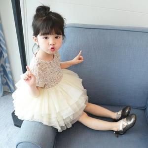 Image 1 - Boutique toddler girls lace dress children evening dress luxury baby 12M 6years tweed fabric gauze dress kids cake dresses