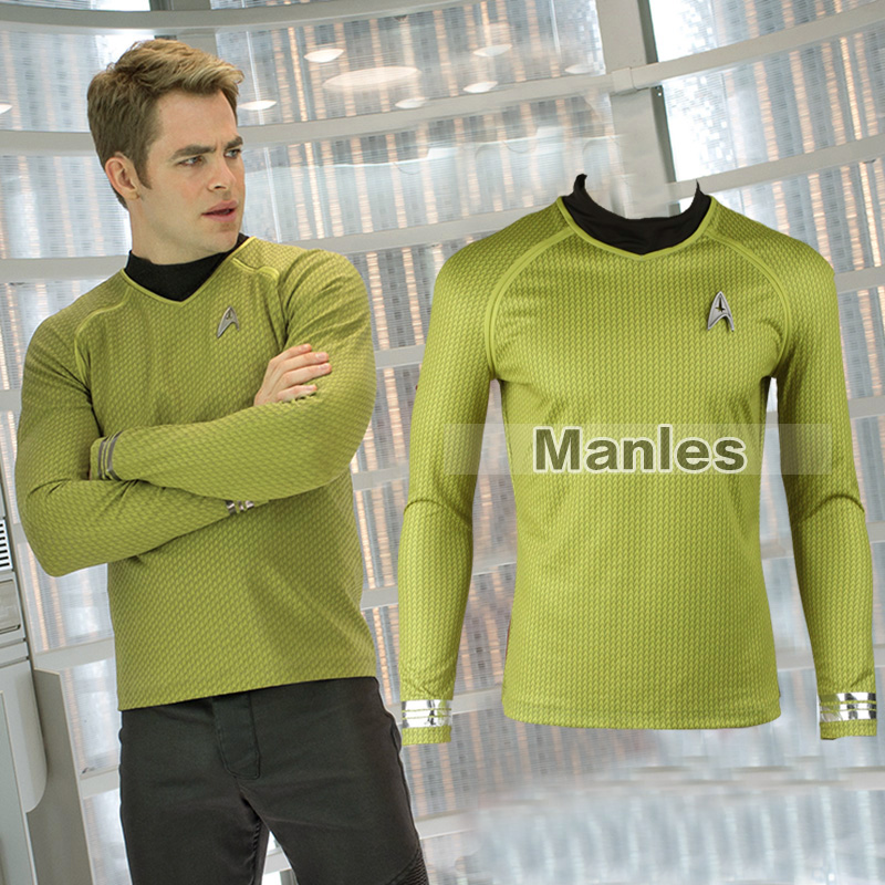 Star Trek Into Darkness Captain Kirk Shirt  UniformYellow Version Star Trek Kirk Commander Long-sleeve Shirt Adult Men Shirt