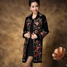 Embroidered Trench coat for women 2017 spring new arrival Long sections China's national style embroidery lady coat female 4XL