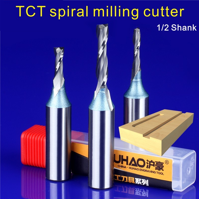 Different TCT Spiral Straight Woodworking Milling Cutter 1PC 1/2 12.7mm, Hard Alloy Cutters For Wood,Carpentry Engraving Tools 1 2 4 15mm tct spiral milling cutter for engraving machine woodworking tools millings straight knife cutter 5935