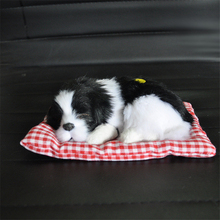 1 шт., яркая маленькая плюшевая собака, прекрасная Спящая собака, игрушки, креативные надавливающие лай, поддельный щенок, забавный автомобиль, домашний офисный декор 18*8 см