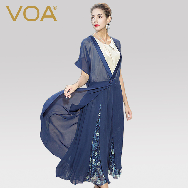 ffb96c2c638 VOA Plus Size Loose Silk Georgette Cardigan Sexy Thin Long Coat Harajuku  Solid Navy Blue Brief Casual Women Tops Summer B5073
