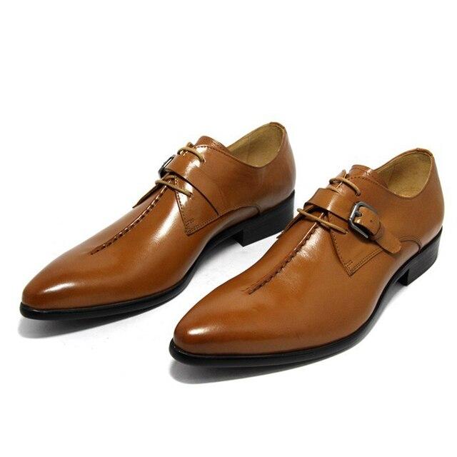 c645618dc9d5a 2018 Italian Style Luxury Men Shoes Genuine Leather Pointed Toe Men Dress  Shoes Business Men Brand Oxfords Size 37-44