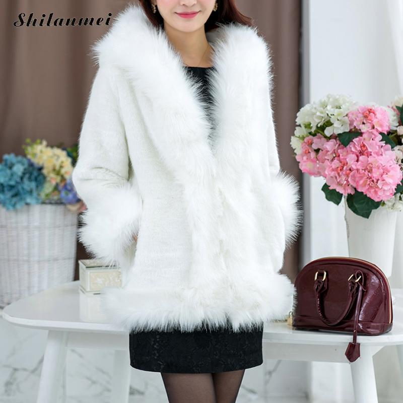 Coat Cap Warm Ladies pink Jacket Siamese Black Streetwear Woman White With Sleeve White Soft Selling black Long Faux Elegant Fur Hot Winter AzqzXU