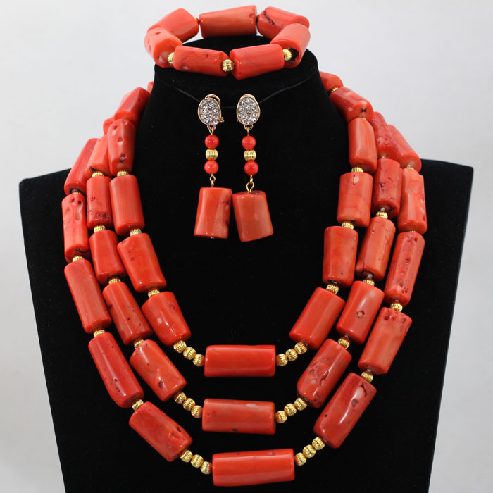 2017 Luxury Nigerian Coral Beads Wedding Jewelry Set Pink African Indian Bridal Costume Jewelry Set 3 Rows Free Shipping HX554 luxury african beads bridal jewelry set 3 rows green crystal balls necklace set women costume jewelry set free shipping abc990