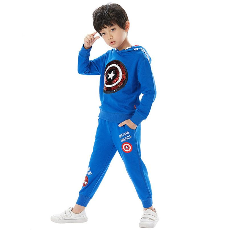 Autumn Winter Captain America Spiderman Cosplay Sequins Long Sleeve Hoodies Sweatshirts Suit Christmas Halloween Costume For Kid