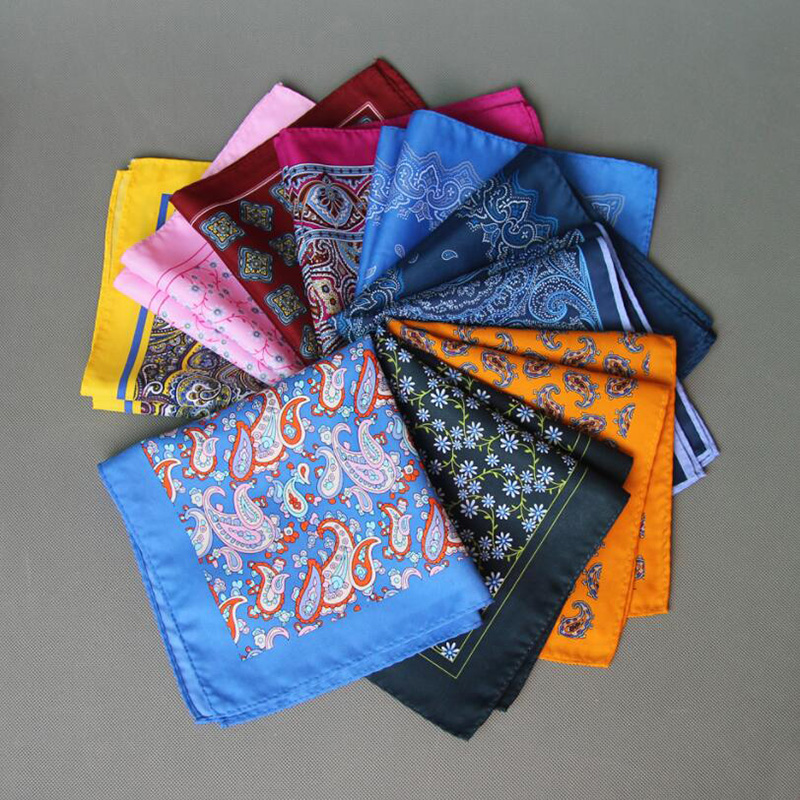 Ricnais New Design 34cm*34cm Silk Pocket Square Business Fashion Paisley Red Blue Handkerchief Big Size For Man Wedding Gift