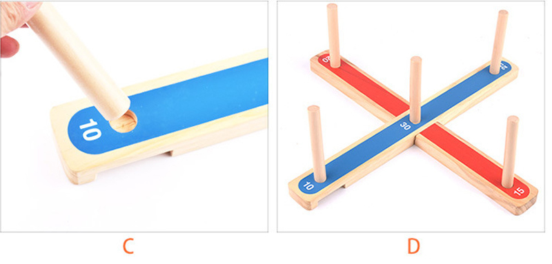 Wooden ring toss stand pegs hoops for outdoor games