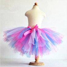 Летние пышные в 3 слоя радужные юбки-пачки детские тюлевые юбки-пачки детские танцевальные юбки Pettiskirt 1-10T