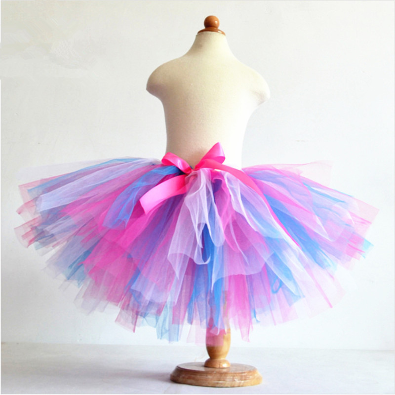 2015 Girls Summer 3 Layers Puffy Rainbow Skirts Tulle Tutu Skirt Children Candy Color Dancing Pettiskirt