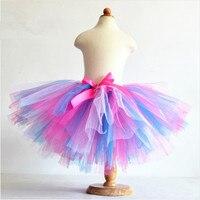 2015 Girls Summer 3 Layers Puffy Rainbow Skirts Tulle Tutu Skirt Children Candy Color Dancing Pettiskirt