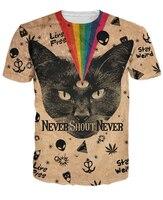 أسود القط t-shirt صيحة أبدا أبدا قمم الأعشاب ليف الغريبة هريرة rainbow 3d تي شيرت النساء الرجال ملابس الصيف نمط تيز 5xl