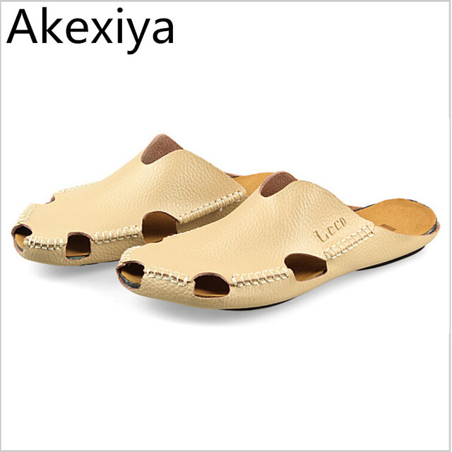 4fc3ad1ee60a07 Akexiya Men Sandals Summer 2017 New Men s Leather Slippers Header With Flat Sandals  Men Sandals Summer Shoes Free Shipping