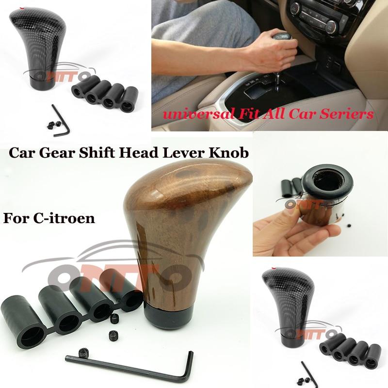 Top Car Gear Shift Head Lever Knob Cover Carbon Wood Gear