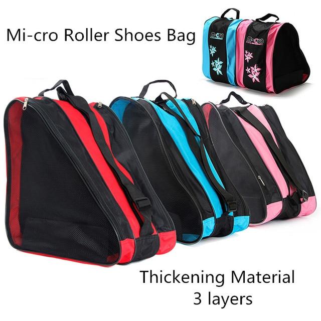 Qualidade mcro patinação sapatos mochilas inline skate sapatos sacos de ombro/bolsas 3 cores disponíveis skate patinação saco