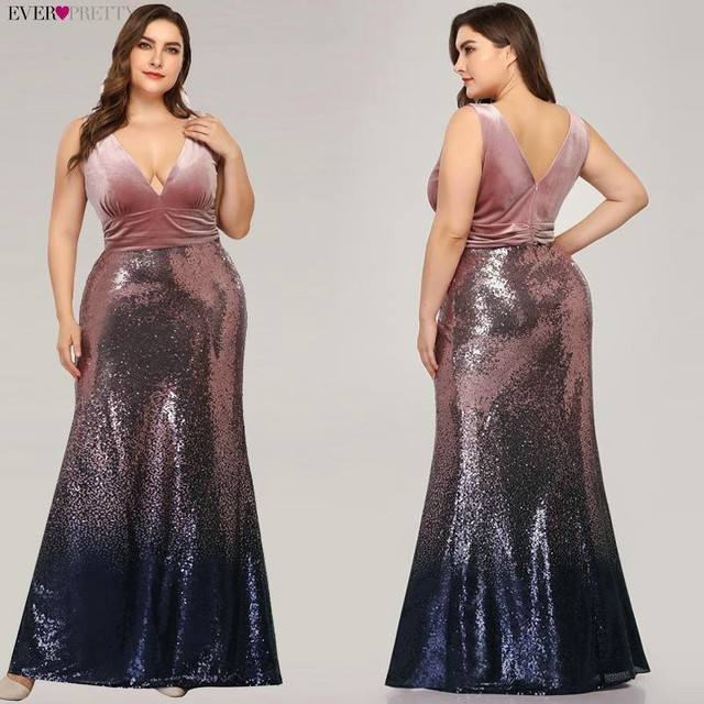 Plus Size Evening Dresses Long Ever Pretty Sexy V-Neck Sleeveless Sequined Burgundy Blush Pink Vintage Mermaid Party Gowns 3