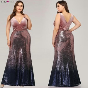 Image 4 - Plus Size Evening Dresses Long Ever Pretty Sexy V Neck Sleeveless Sequined Burgundy Blush Pink Vintage Mermaid Party Gowns