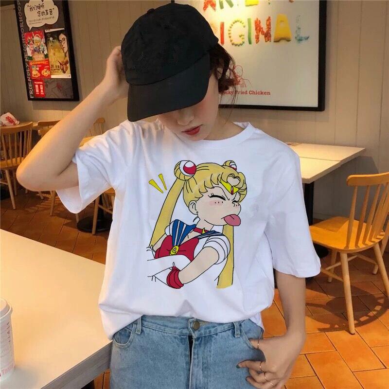 Sailor Moon T Shirt Kawaii Summer Women T-shirt Harajuku Sweet Print Short Sleeve Ullzang Tshirt Female Top Tees Shirts Graphic