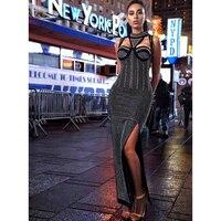 Yüksek kalite yeni 2017 tasarımcı dress kadın kolsuz diamonds süslenmiş seksi bodycon uzun dress oymak
