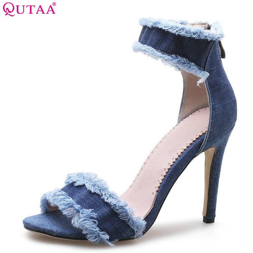 QUTAA 2018 Women Sandals Denim Fashion Women Shoes Platform All Match Thin High Heel Round Toe Women Sandals Size 34-43 raw trim denim sandals