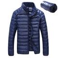 Pato para baixo homens jaqueta de inverno 90% Para Baixo Teor de ultra fino luz para baixo casacos de inverno jaqueta de inverno manga longa sólida bolso moda