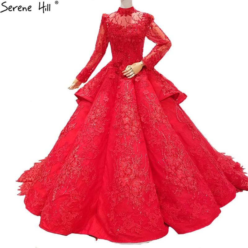 Red Bridal Long Sleeve High End Wedding Dresses Flowers