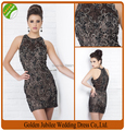 2015 New Arrival Elegant High Neck Black Lace Sheath Mini Cocktail Dress 2015 Party Dress Custom Made vestido de renda P29