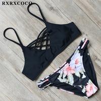 RXRXCOCO Bikinis 2017 Sexy Padded Swimwear Women Low Waist Bikini Set Push Up Swimsuit Halter Bandage
