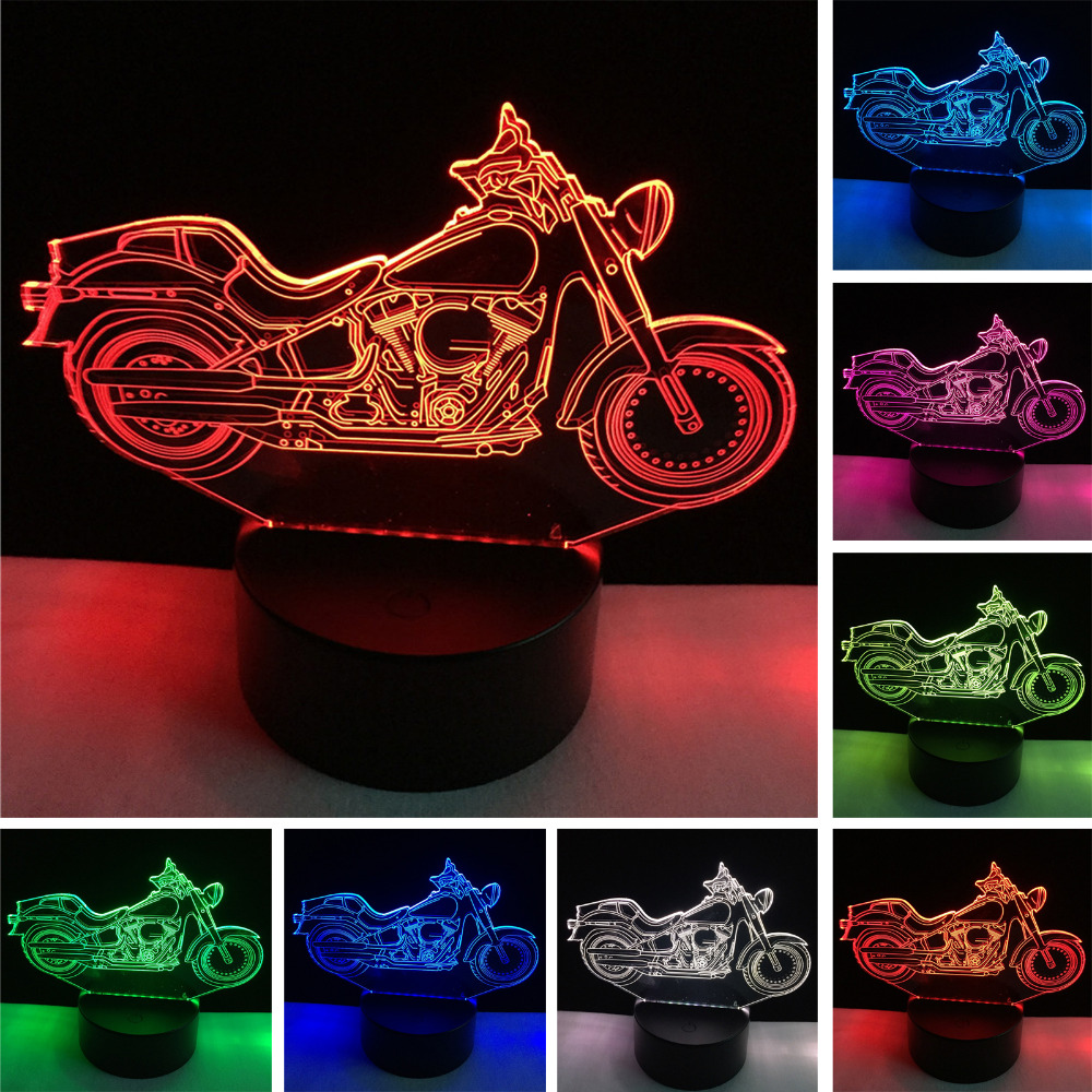 3D Motorcycle Night Light Acrylic RGB Illusion visual Desk Lamp 7 Color Changing Atmosphere Lighting for Holiday Home lamparas creative 3d visual color changing led touching night light