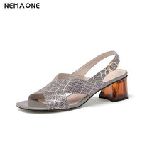 NEMAONE Summer Shoes Woman Genuine Leather Gladiator High Heeled sandals Fashion Platforms Female Shoes Sandals