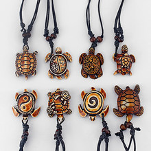 1PCS Styles Ethnic Tribal Faux Yak Bone Sea Turtle Pendants Necklace Resin Adjustable Jewelry(China)