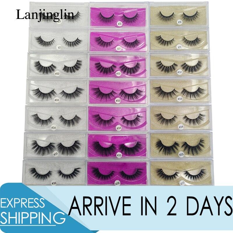 LANJINGLIN 1 Pair False Eyelashes Mink Lashes 3d Mink Hair Maquillaje Fake Eye Lash Hand Made Makeup Eyelash Extension