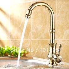 L16333-Роскошные Однорычажный и Настенные Золотой Цвет Латунь Кухня Раковина Кран