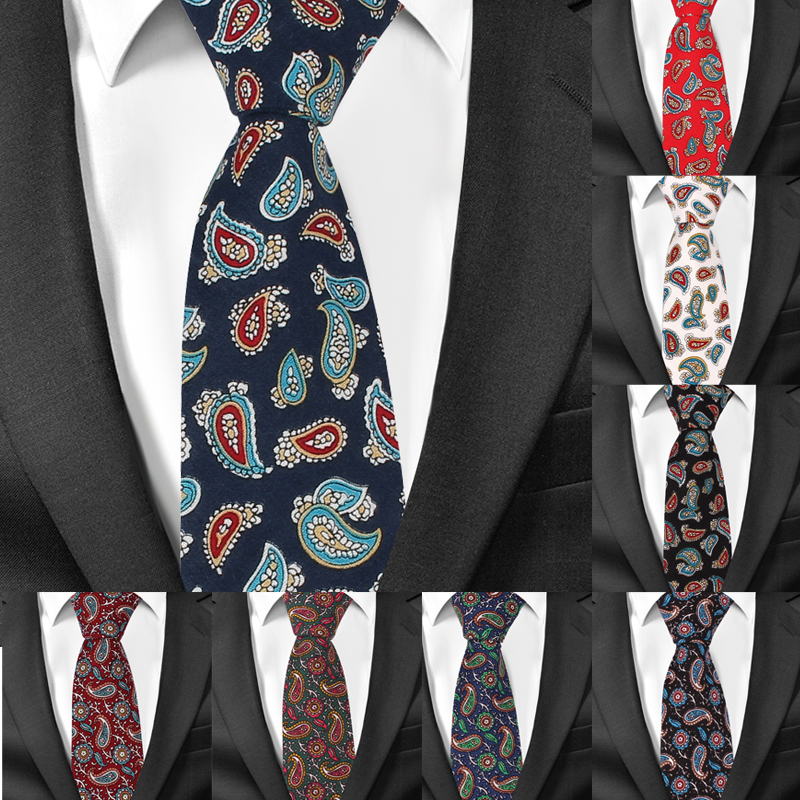 New Skinny Paisley Ties For Men Casual Print Cotton Neckties Slim Groom Neck Tie Gravatas Corbata Vestidos Suits Men Tie