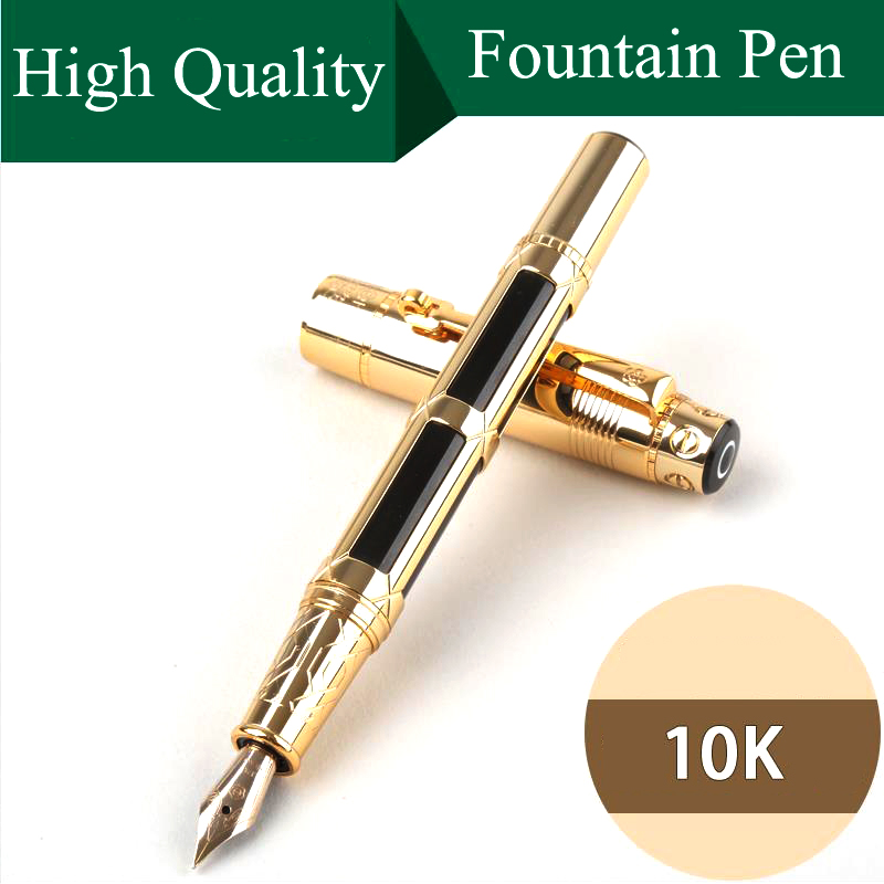 High Quality Luxury Fountain pen ink pen 0.5mm 10K Gold Nib Stationery Beautiful gift Box Penna stilografica Vulpen Stylo 03824 hot sell feather pen vintage fountain pen ink pen nib stationery vulpen 16 colors stylo plume canetas penna stilografica 03874
