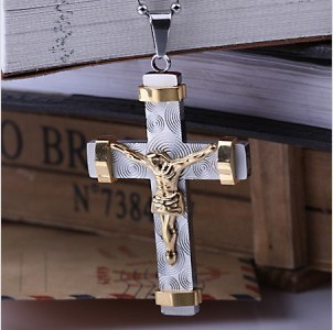 Christmas Gift high quality 316 Stainless Steel rose gold plated Cross pendant Necklace for men women Fashion Jewelry Wholesale