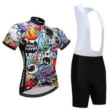 קיץ קריקטורה דפוס רכיבה על אופניים ג רזי ג ל כרית לנשימה שחור ביב מכנסיים MTB בגדי אופני אחיד אופניים בגדי ערכת Skinsuit