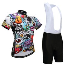 Summer Cartoon Pattern Cycling Jersey GEL Breathable Pad Black Bib Shorts MTB Clothes Bike Uniform Bicycle Clothing Kit Skinsuit