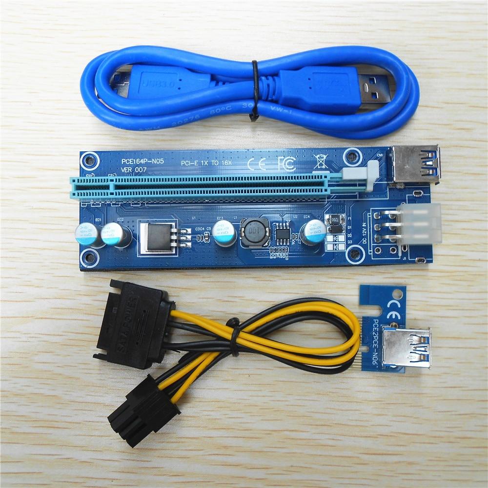 Ver 007 Riser Card Pci-e Riser Express Riser Card 1x to 16x USB 3.0 Data Cable SATA to 6Pin Molex Power Supply for BTC In Stock
