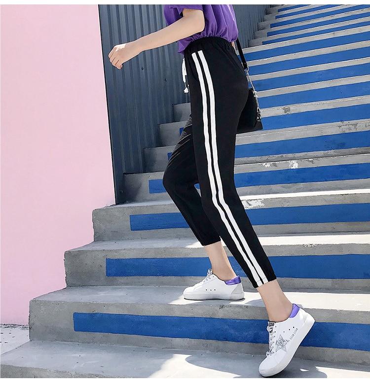 Women Pants Casual Sports Jogging Bottoms Side Stripe Drawstring Sweat Trousers Women Loose Elastic Waist Sportswear Pants 28