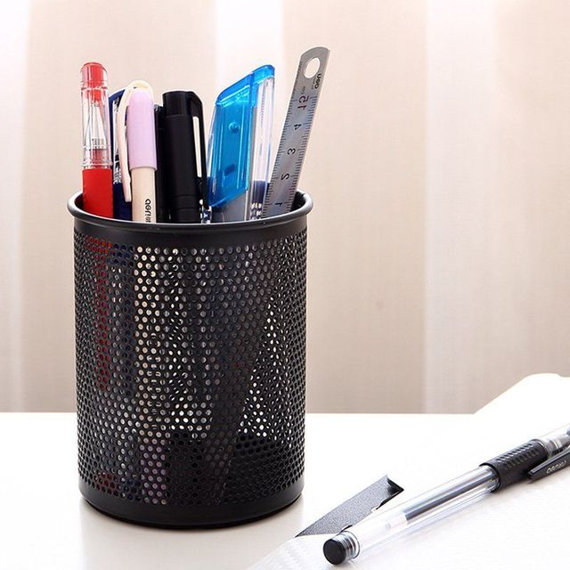 Storage Products Stationery Office Circular Metal Mesh Pen Holder Desktop Network Rail Bucket Insert