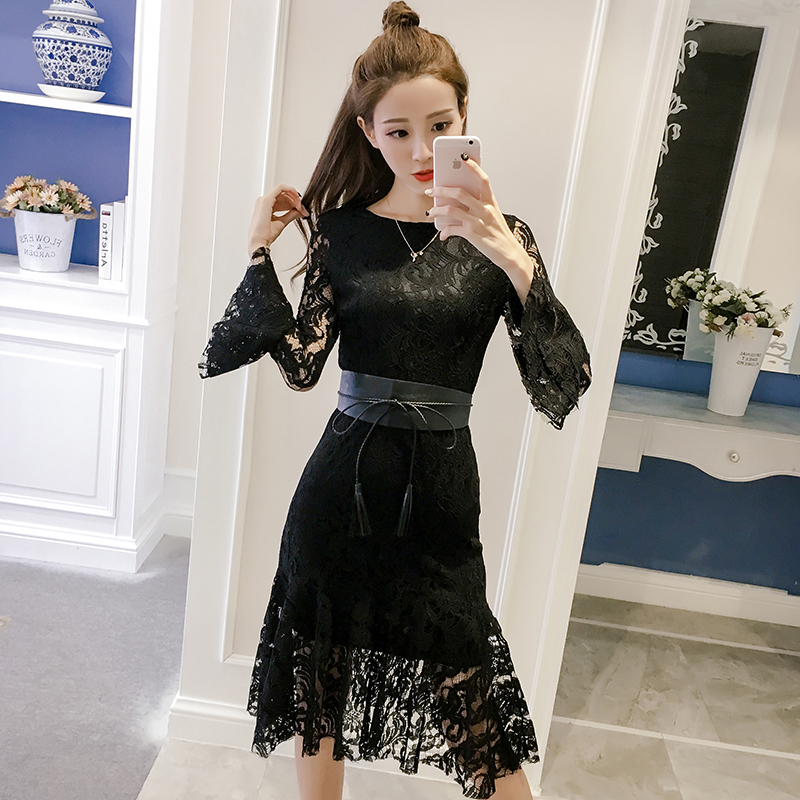 2018 new h han queen vestidos hollow out white party lace dress high quality women long sleeve casual dresses