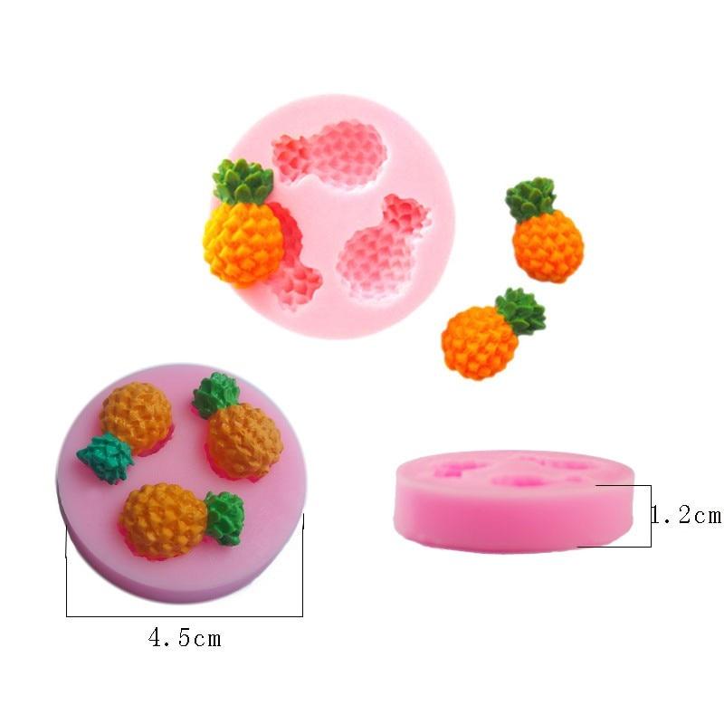 ✓Mini piña silicona fruta Jabones fondant Moldes para velas azúcar ...