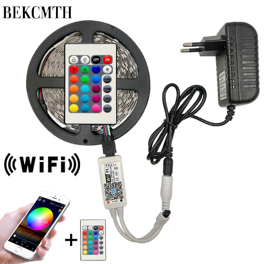 5M 10M 2835 bande de LED RGB LED bande de lumière SMD DC 12V LED RGB imperméable ruban de diode de lumière Flexible avec contrôleur Wifi IR