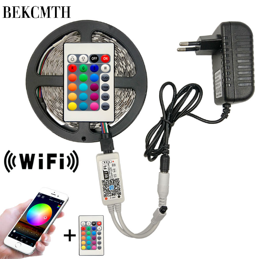 5M 10M 2835 <font><b>LED</b></font> Strip RGB <font><b>led</b></font> strip Light Tape SMD DC <font><b>12V</b></font> <font><b>Waterproof</b></font> RGB <font><b>LED</b></font> Light diode Ribbon Flexible with Wifi IR Controller image