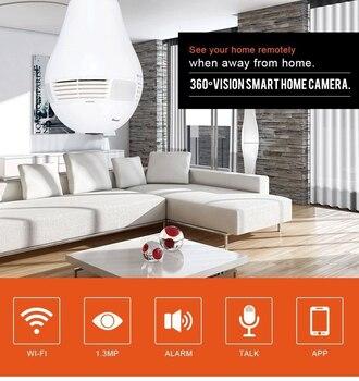 IP Kamera WiFi Ampul Lamba Balıkgözü Kamera 360 Derece Kablosuz Panoramik Gözetim Güvenlik Kamerası WiFi IP Bebek Izleme Monitörü LED Ampul