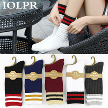 Women Harajuku Cool Short striped Socks Art Fashion White Cotton Cocks Hipster Cartoon Colored Ankle white black hot